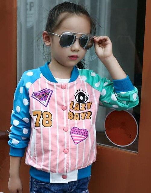 2017 Осень детская одежда куртки для девочек повседневные горошек длинные рукава для девочек куртки для девочек Дети Стенд воротник куртки