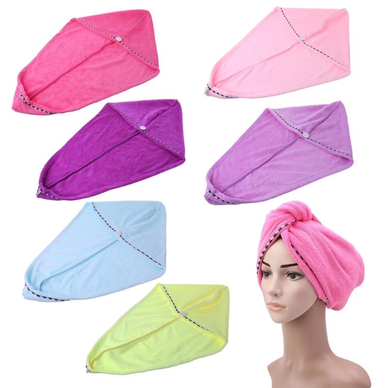 Microfiber Towel Fast Quick Dry Hair Drying Turban Wrap Hat Caps Spa Bathing New