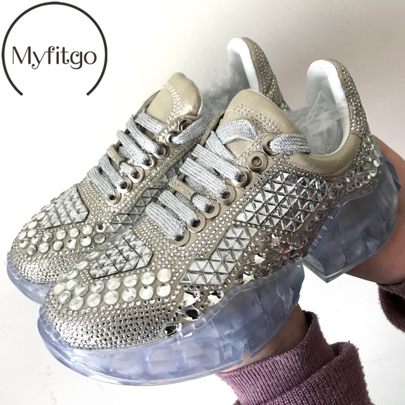 Myfitgo Casual Rhinestone Sneakers Women Bottom Platform Shoes Breathable Fashion Female Walking Sport Crystal Shoes for Girls-in Women's Vulcanize Shoes from Shoes    1