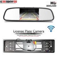Koorinwoo Wireless Adopter EU License Plate Frame Rear View Camera Reverse Car Monitor Mirror RCA Video Input Parking Assist