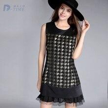 Plus size design elegant women sleeveless autumn dress lace patchwork women A line dress 5XL big