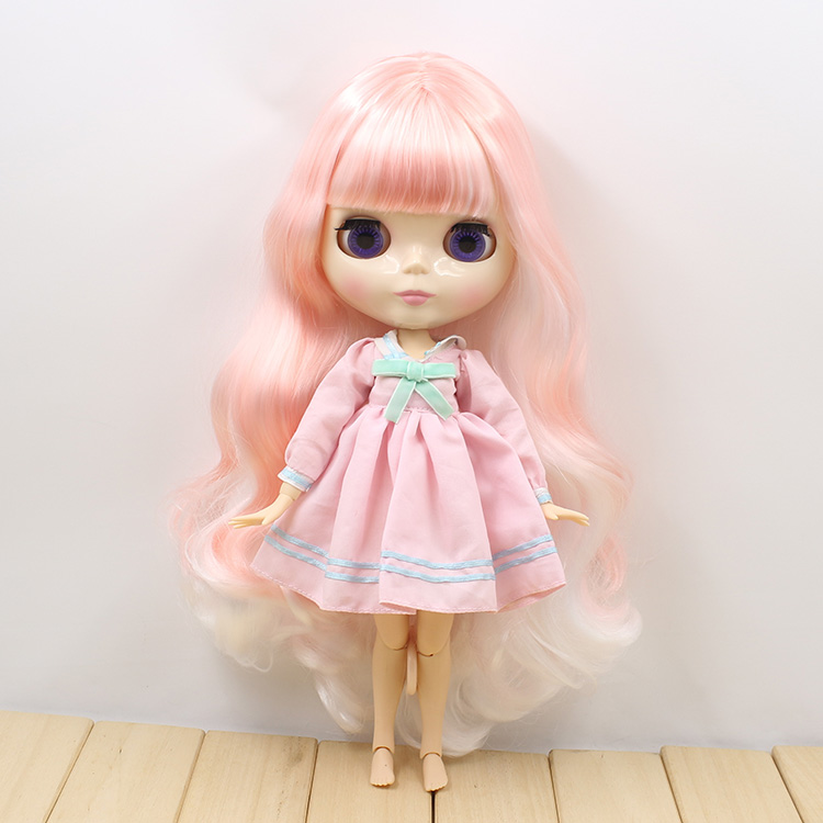 280BL136/1010 colorful curly long hair white mix pink with bangs joint body nude doll suitable for change DIY casio ltp e117g 2a