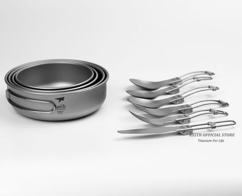 keith titanio conjunto de talheres viagem acampamento