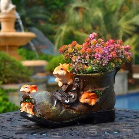 Resin Rabbit Shoes Plant Flower Garden Decoration Outdoor Courtyard Cartoon Fleshy Flower Pot Balcony Decor for Pots