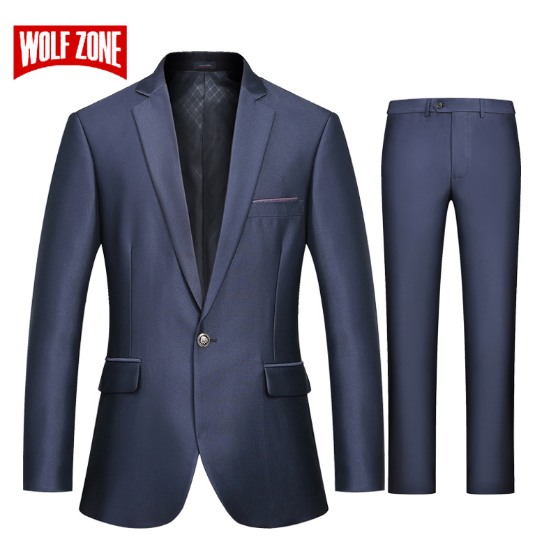 WOLF ZONE Brand Suit Men Business Casual Slim Fit Suits with Pants Luxury Blazer Mens Formal Wedding Suit Mens Party Jacket-in Suits from Men's Clothing    1