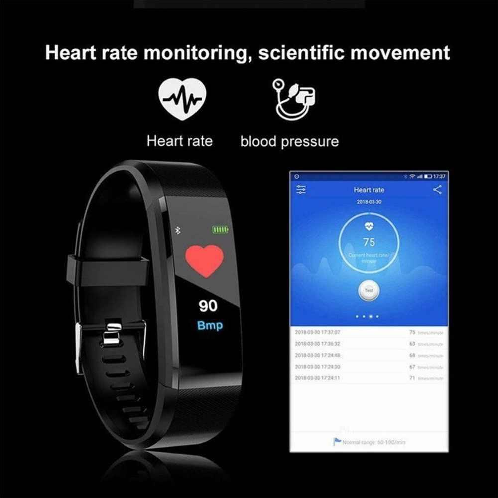 115 ساعة ذكية مراقب معدل ضربات القلب مراقبة ضغط الدم شاشة ملونة منبه الاهتزاز سوار لياقة بدنية