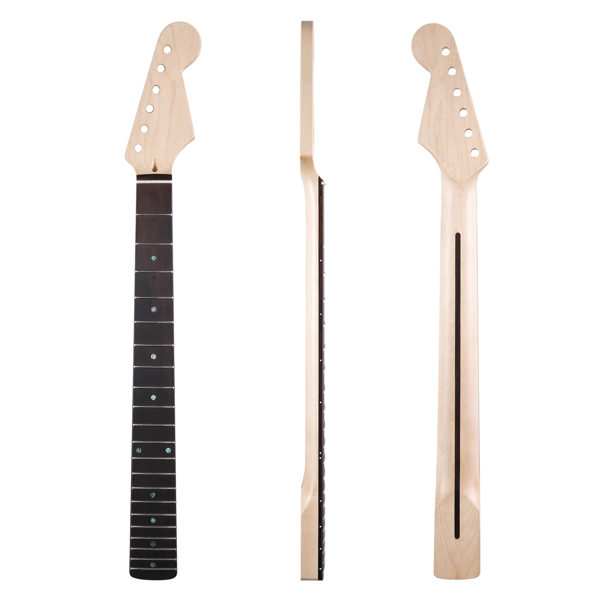 Dopro 21 Fret Canadian Maple Strat Guitar Neck with Rosewood Fingerboard 10mm Tuner Holes Abalone Inlay and Bone Nut dopro 22 fret canadian highly tiger flamed maple strat neck with rosewood fingerboard abalone inlay bone nut for stratocaster