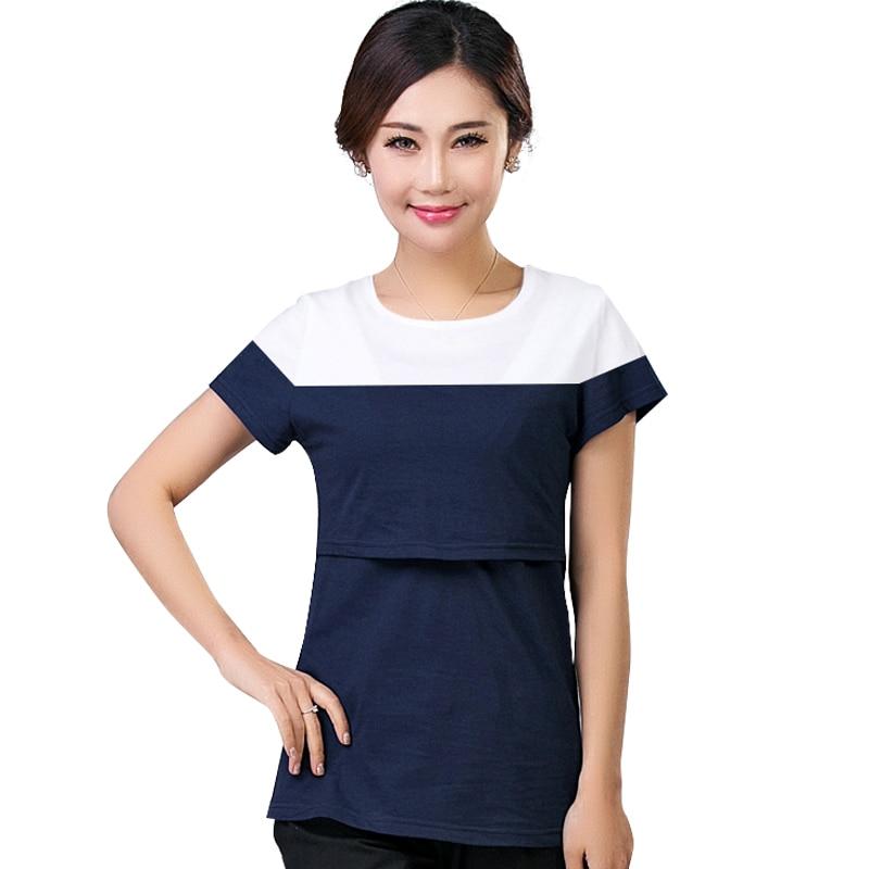 2017 Sommerfodringstopper T-shirts Moderskabsforebyggelse Tøj Gravid Kvinder Amning T-shirt Maxi Premama Wear Beklædning