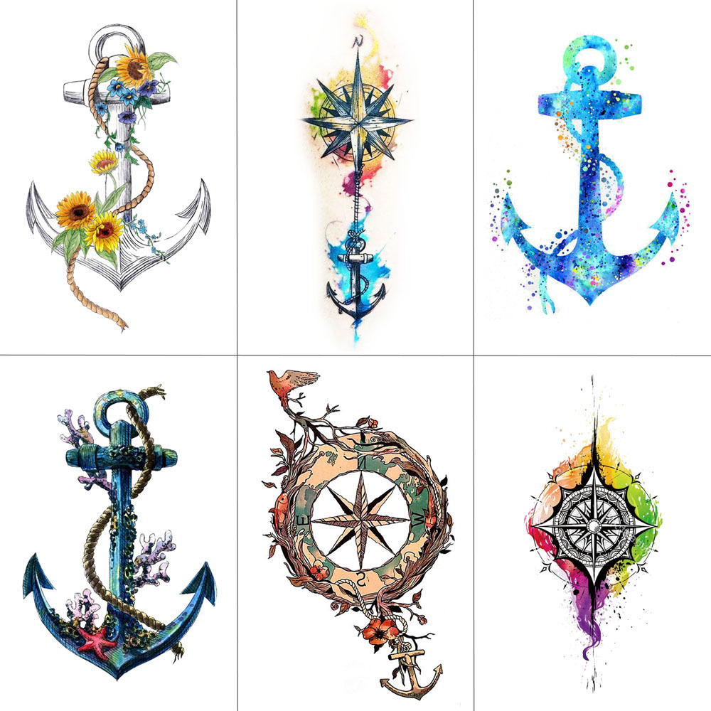 HXMAN Ship Anchor Women Temporary Tattoo Sticker Waterproof Fashion Fake Body Art Arm Tattoos 9.8X6cm Kids Hand Tatoo T-001