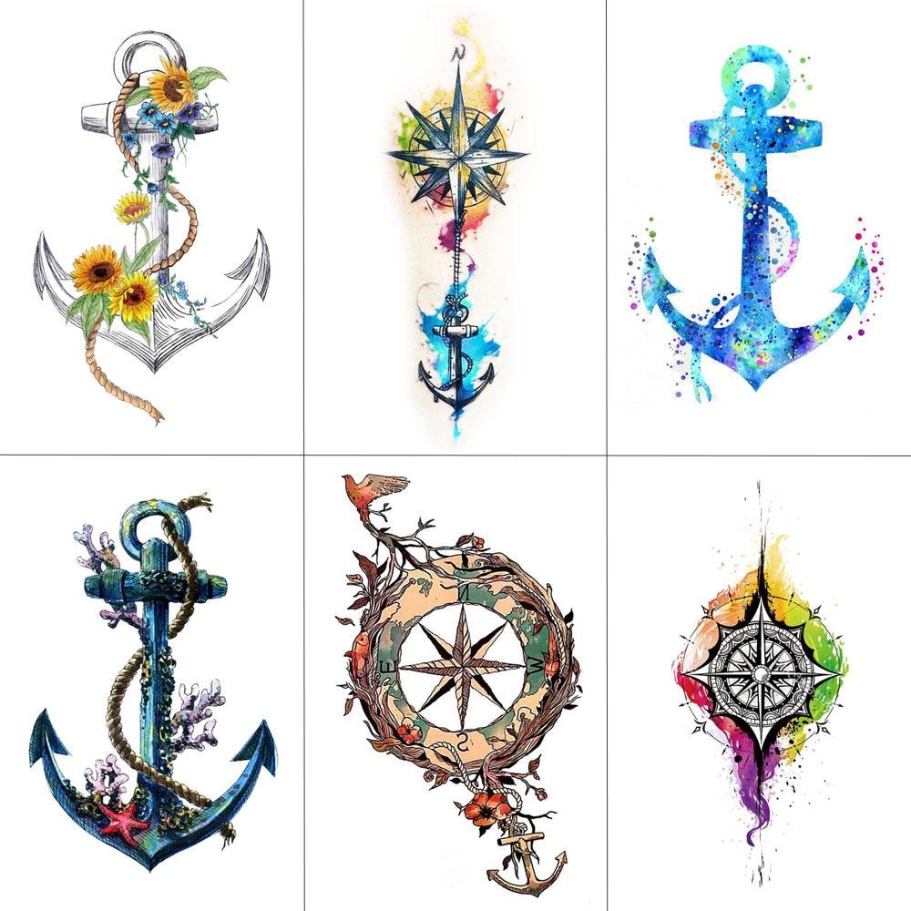 HXMAN Ship Anchor Women Temporary Tattoo Sticker Waterproof Fashion Fake Body Art Arm Tattoos 9.8X6cm Kids Hand Tatoo T-001