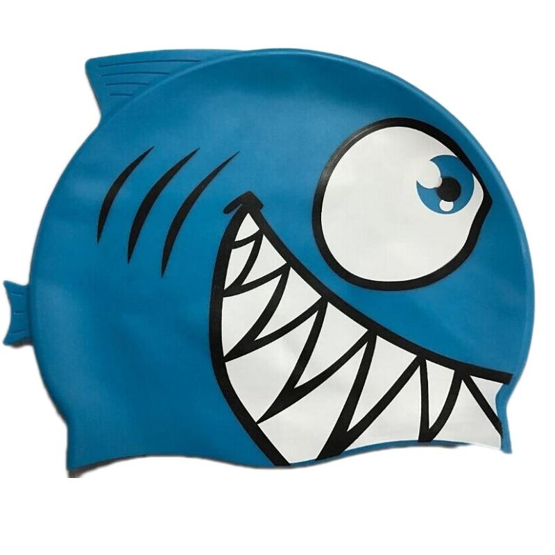 Child Kids Silicone Swimming Cap Cartoon Shark Elastic Swim Pool Cap Comfortable High Quality Bathing Hats For Boys Girls Babies 3