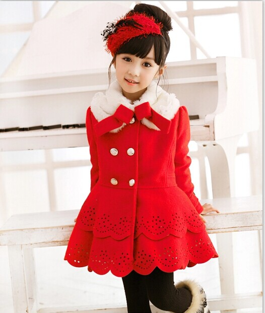 ФОТО The New Children's Christmas Goods Korean Girls Coat Fur Collar Wool Coat Kids Clothing Red