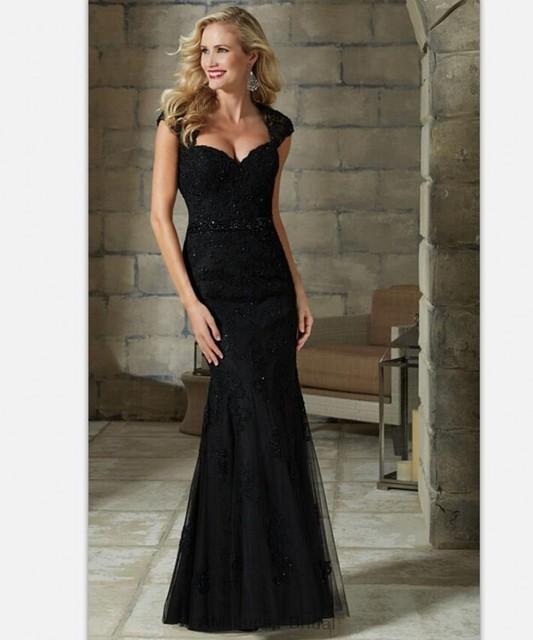 2016 preto Mãe dos Vestidos de Noiva Apliques Caixilhos Para O Casamento Evening Partido Vestidos Mulheres Vestido Formal Botões Cobertos