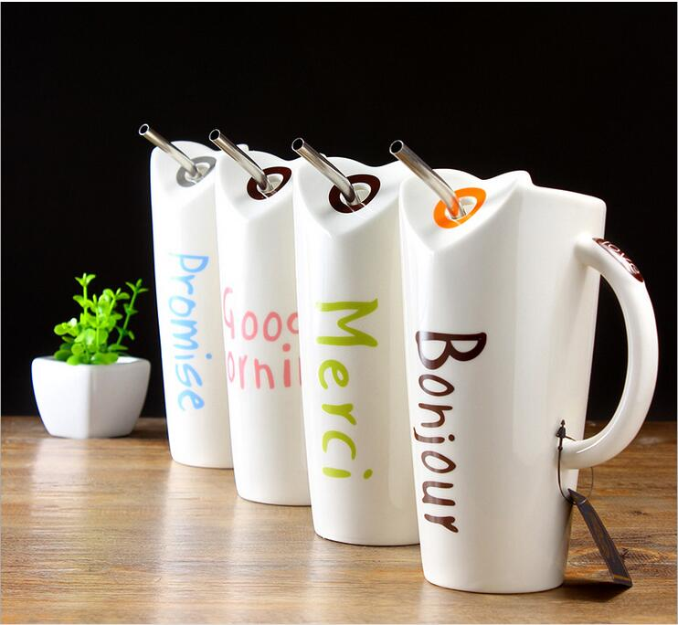 Ceramic cup with straw Creative Coffee Mug Good morning Painting Milk Cup Office Coffee Cup Wedding Gift