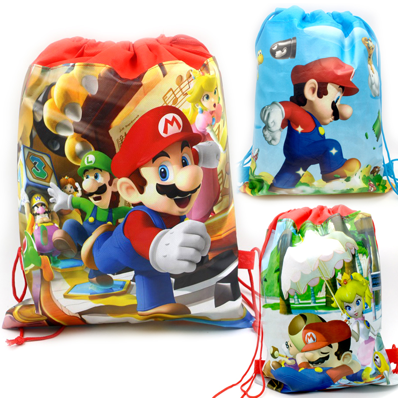 1PCS Happy Baby Shower Super Mario Theme Red Drawstring Gifts Bags Kids Favors Non-woven Fabric Backpack Birthday Party Mochila