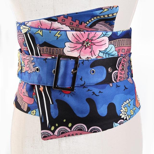 5a10778cfc3 2018 New Women Gg Belt Bandoleira Cinto Feminino Extra Wide Belt Decorative  Painting Flower Cloth Waist