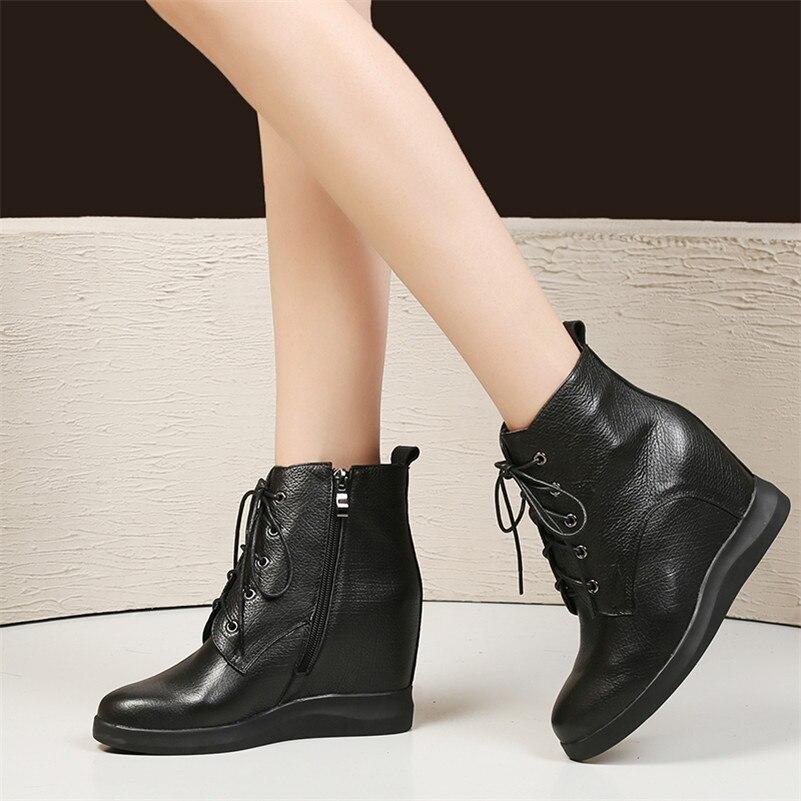 8b6f5cb4 Cordones Casuales Conasco Con Botas 2019 Zapatos Tacones Básicas Altos  Martin Cuero Cuñas Negro De Mujer Para ...