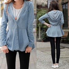 Vintage Women's Denim Shirt Jean Blouses Cardigan Ruffles Solid Hooded Full Sleeve Fashion Blusas 2014 Autumn #5