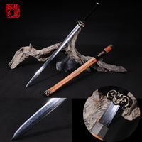 Chinese Han Dynasty Sword Folded Steel Blade Circle Lines Pattern Martial Art Collectible