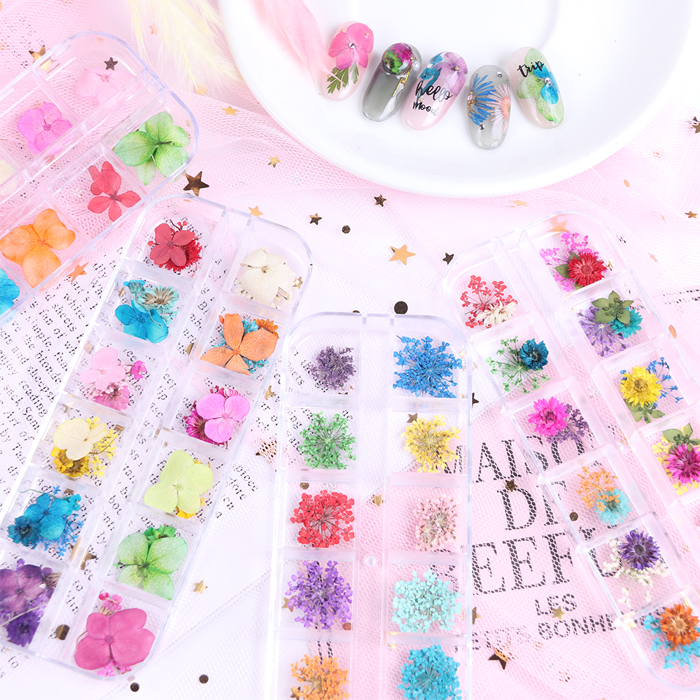 Mix Dried Flowers Nail Decorations Jewelry Natural Floral Leaf Stickers 3D Nail Art Designs Polish Manicure Accessories (6)