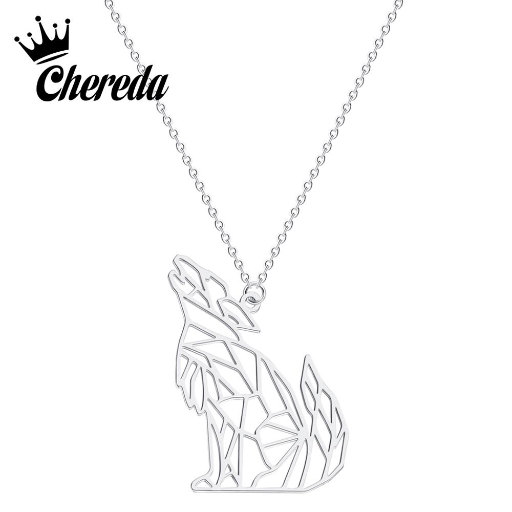 Chereda Personality Hollow Wolf Chain Necklaces&Pendants Stainless Steel Metal Charm Punk  Jewelry Bijoux
