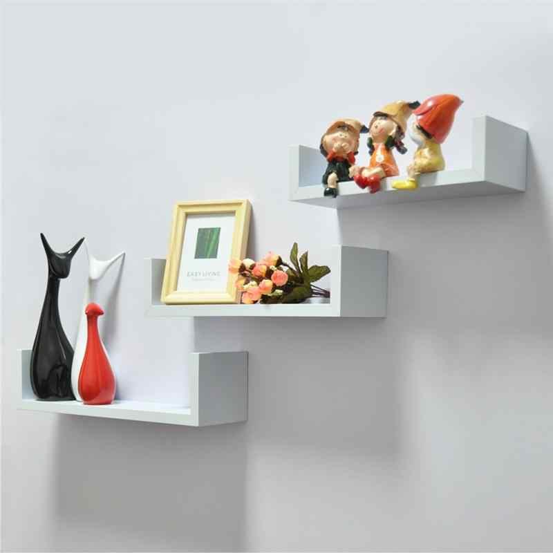 Современная U форма настенная простая деревянная книжная полка для книг/медиа/CD/DVD хранения
