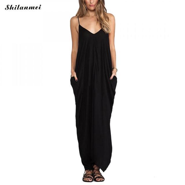 7011b9e252d87 US $11.93 30% OFF|2018 Summer Black Dresses Big Size Long Maxi Dress Women  Sleeveless Casual Strap Pockets Boho Beach Dress Vestidos Femininos-in ...