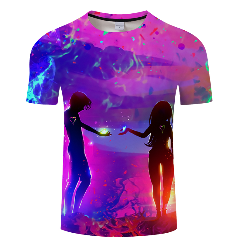 The new style of men's and women's 3d printed T-shirt in summer 2018, the lovers' printed T-shirt with short sleeves and men's