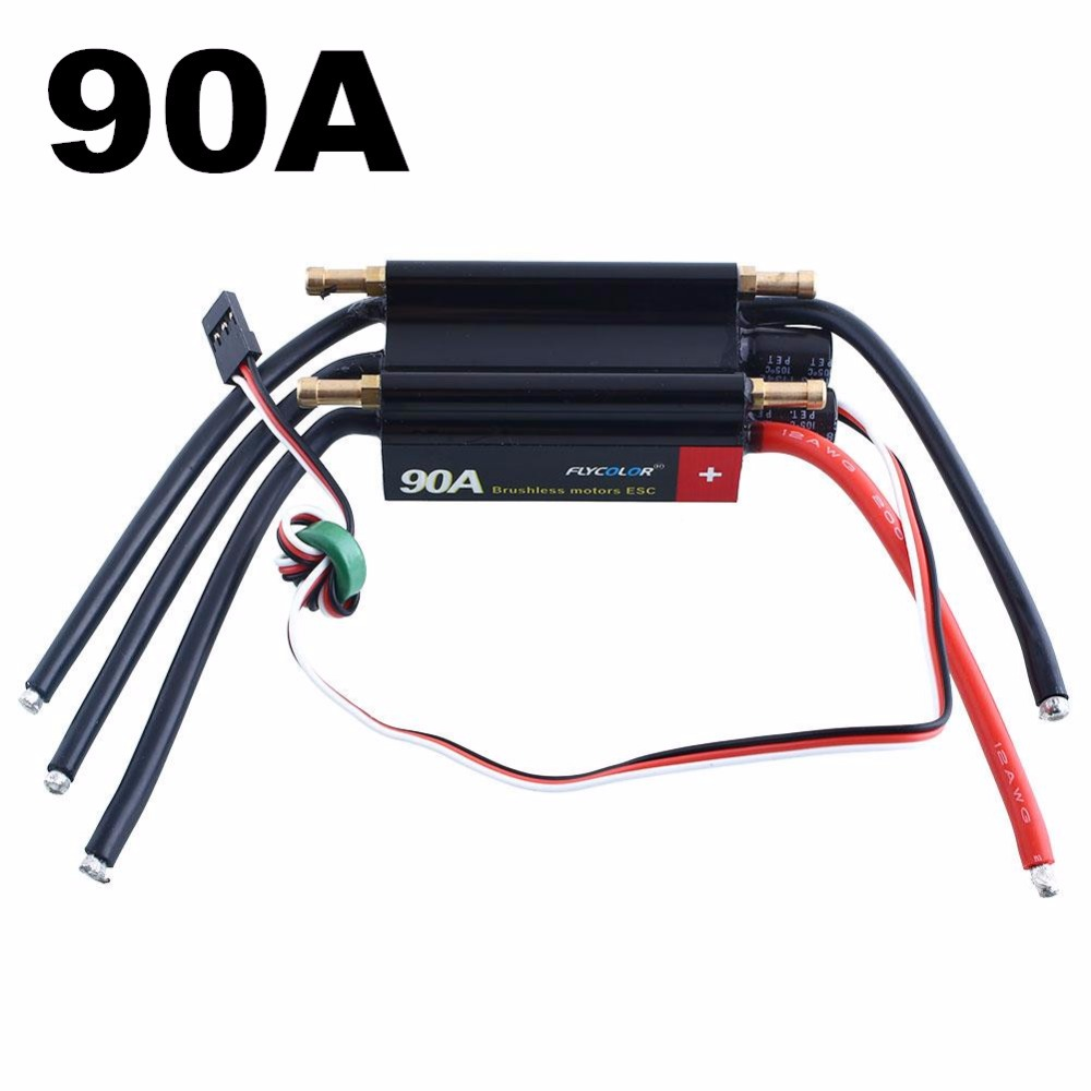 FlyColor 90A 2-6S Lipo Water cooling ESC with 5.5V/4A BEC Boat ESC , Programmable Brushless Speed Controller ESC
