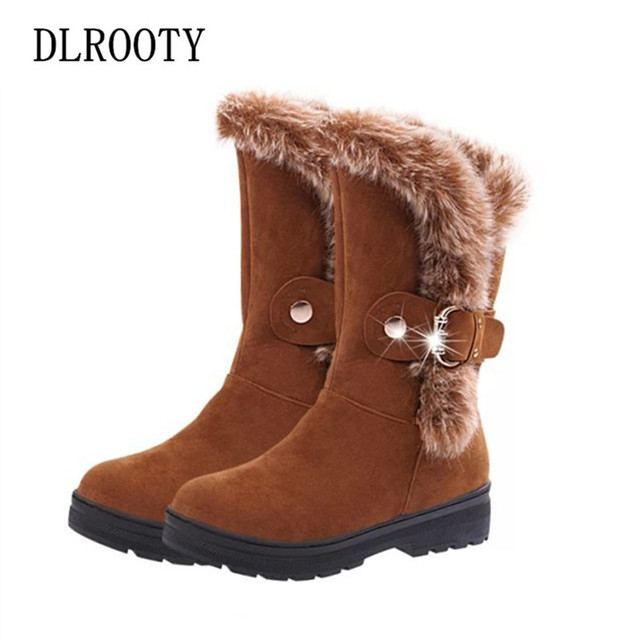 ผู้หญิงหิมะรองเท้าบูท 2018 ฤดูหนาว Warm Plush รองเท้าสบายๆหญิงกลางลูกวัวแบนแฟชั่นรอบ Toe Buckle สายคล้อง