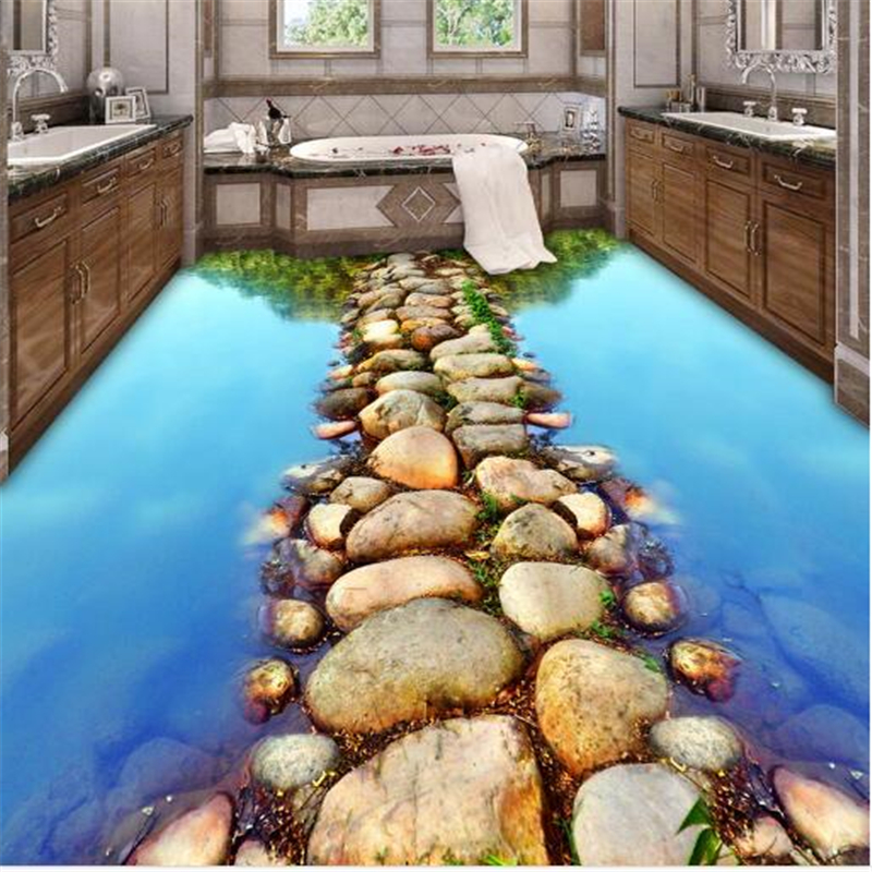 где купить beibehang river stone slabs papel de parede tiles dimensional painting waterproof self adhesive 3d flooring painting wallpaper по лучшей цене