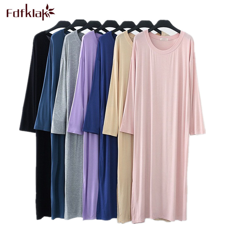 Fdfklak Large size loose   nightgown   women long sleeve modal night dress women's sleepwear nightdress spring autumn   sleepshirt