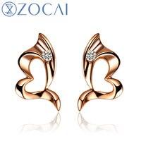 ZOCAI серьги 0,02 КТ Сертифицированный H/SI алмазные свадебные серьги гвоздики круглые ювелирные изделия 18 K розовое золото E00058