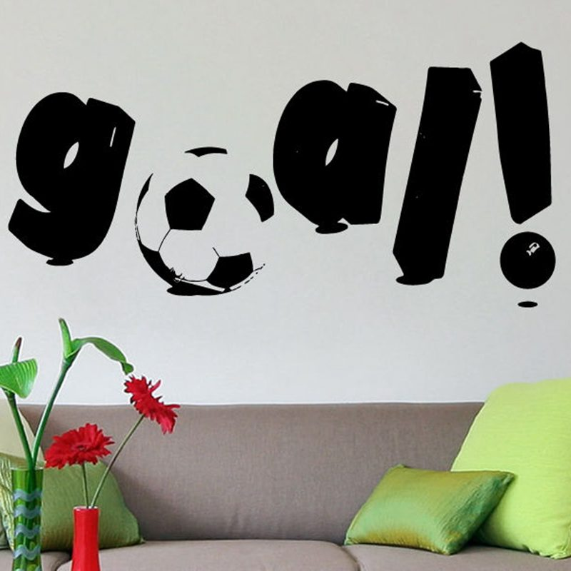 DCTAL Football Sticker Goal Sports Soccer Decal Helmets Kids Room Name Posters Vinyl Wall Decals Football Sticker