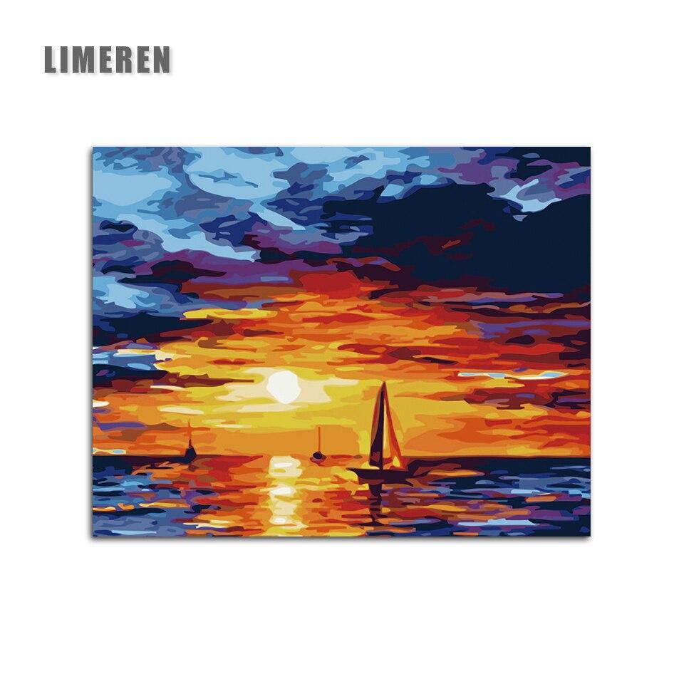 DIY Sunset Glow mar vela aceite imágenes sobre lienzo pintura por ...