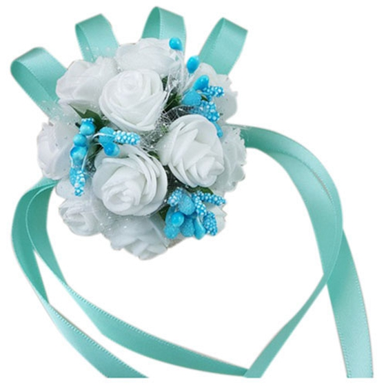 Alim hot wrist corsage bracelet bridesmaid sisters hand flowers alim hot wrist corsage bracelet bridesmaid sisters hand flowers wedding party bridal promwhite flowers blue beads in artificial dried flowers from home mightylinksfo