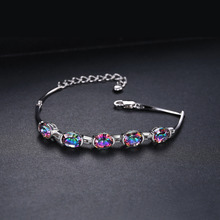 JewelryPalace 6ct Concave Oval Genuine Mystical Rainbow Topaz Bracelet Solid 925 Sterling Silver Stunning Brand New Jewelry