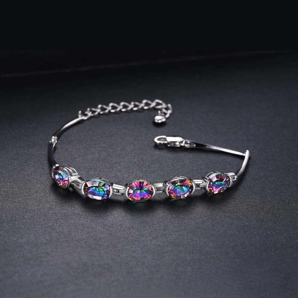 6ct Concave Oval Äkta Mystisk Rainbow Topaz Armband Solid 925 - Fina smycken - Foto 2