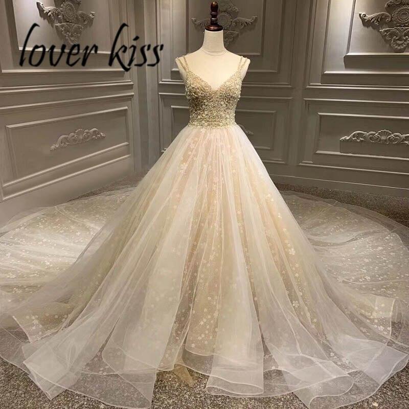 Lover Kiss Vestido De Noiva Sparkly V Neck Spaghetti Straps Wedding Dresses Beaded Crystal Bride Wedding Gowns Real Photo Luxury