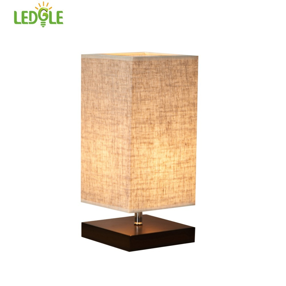 Ledgle chic desk lamp decorative bedside lamps kit square table lamp ledgle chic desk lamp decorative bedside lamps kit square table lamp with linen lampshade and wood base universal e27 socket in desk lamps from lights aloadofball Choice Image
