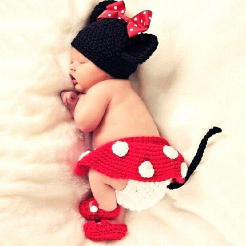 a469f5c0cb4c8 Bebê recém-nascido da menina fotografia props Meninos Meninas Mini Mouse  Foto Props Infantil Calções Saia Roupas Sapatos Set Gorros Gorros Chapéu