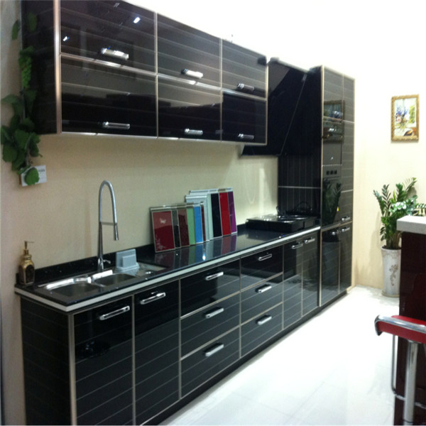 Black Kitchen Cabinet With High Gloss Lacquer Painting