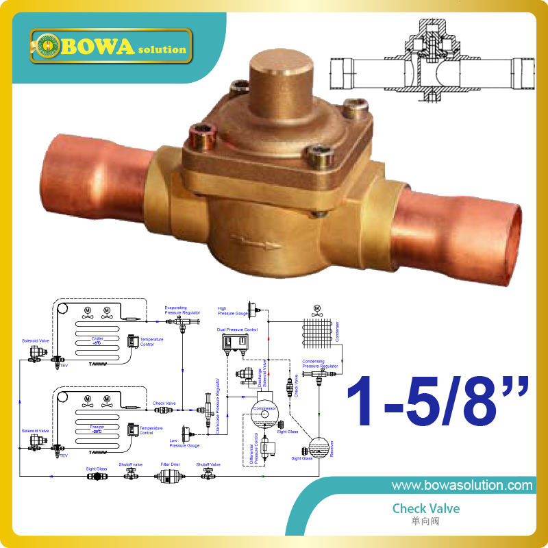 1-5/8 plunger Check Valve with extended cupper tube select easy disassembly and assembly design & replace Emerson Check valve 3 8 check valve with solder connection for bus air conditioner and refrigeration truck replace sporlan check valve