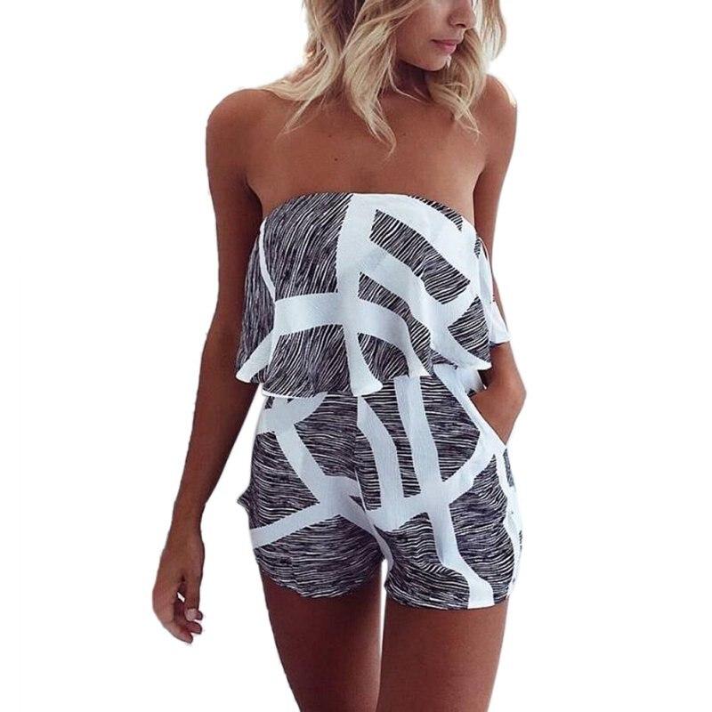 2017 New Summer Women Sexy stripes Brat wide leg sleeveless pants USA Beach Wild Style Playsuits