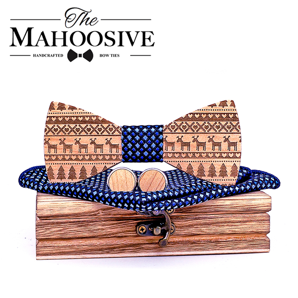 Maple Wooden Bow Ties For Men Ties Wood Bowtie Handmade Butterfly Wood Bow Tie Gravata Gift Cufflink Handkerchief Set Box