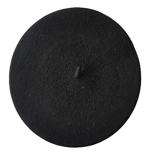 Одноцветный женский берет для девочек, французская художница, теплая шерстяная зимняя шапка, шапка 4XQT - Цвет: Черный
