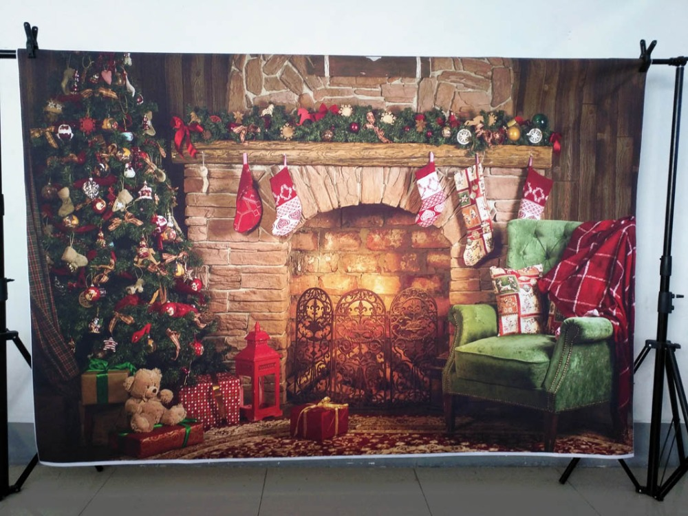 Vinyl Photography Background Christmas Backdrop Tree Fireplace Gifts Toy Indoor Children Backdrops For Photo Studio Zr 206