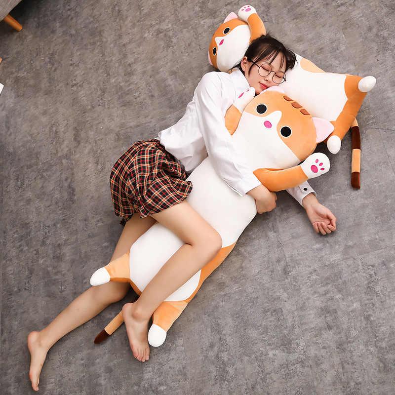 1 pc 65/90 cm longo almofada Gato Travesseiro brinquedo De Pelúcia macia pelúcia boneca animal dormir Sofá Decoração Do Quarto kawaii presentes Encantadores para as crianças