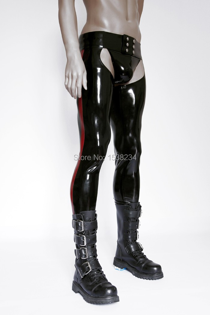 Latex Tight Chaps Rubber Men Jeans Open Hips Sexy Latex