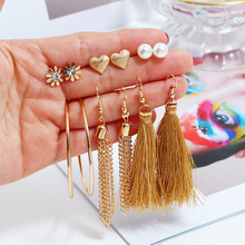 Bohemian Long Chains Tassel Earrings Set For Women Statement Flower Heart Stud Earring Handmade Female Jewelry